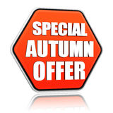 Special autumn offer orange hexagon banner Royalty Free Stock Photo