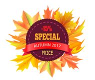 Special Autumn 2017 Price 15 Off Vector Logo Stamp. Special autumn 2017 price -15 off vector logo stamp on background of bouquet of fall maple leaves vector Stock Photo