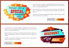 Special Best Offer Discounts Autumn Big Sale 2017. Special offer best price discounts autumn big sale 2017 fall collection web banners with buttons read more and Stock Image