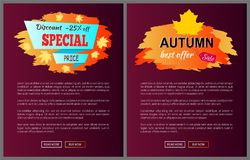 Special Best Offer Discounts Autumn Big Sale 2017. Special offer best price discounts autumn big sale 2017 fall collection web banners with buttons read more and Stock Photography
