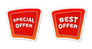 Special and best offer in red banners Stock Photos