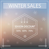 Special big winter season sale poster with snowflakes retro vintage Stock Image