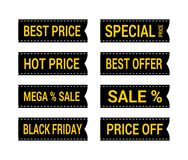 Special black and yellow offer black friday sale tag flag discount symbol retail sticker sign price set. Sale and discount price badge sticker royalty free illustration