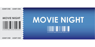 Special blue movie ticket Stock Photography