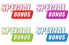 Special bonus in four colors labels, flat design Royalty Free Stock Photo
