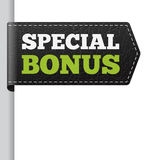SPECIAL BONUS leather bookmark label Royalty Free Stock Image