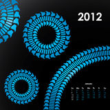 Special calendar for 2012. With tire design stock illustration