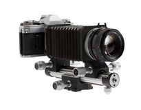 Special camera with macro bellows Royalty Free Stock Image