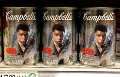 Special Campbell Soup Star Wars edition for sale at a grocery store stock images