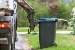 A special car garbage truck stock photos