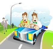 Special car for twins. Two brothers-twins driving both a one special car. They quickly moving to road and screaming royalty free illustration