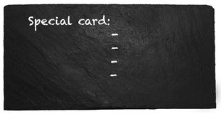 Special card on slate Stock Photography