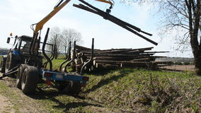 Special cargo truck with crane unload logs from truck. Forest fell. stock footage
