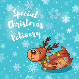 Special Christmas Delivery. Holiday card with cute cartoon deer Royalty Free Stock Images