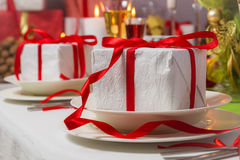 Special Christmas gifts for everyone on plates Royalty Free Stock Photography