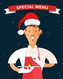 Special Christmas menu cook chef vector Stock Image