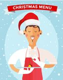 Special Christmas menu cook chef vector Royalty Free Stock Photography