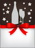 Special Christmas menu design. Stitched icons and red bow Royalty Free Stock Image