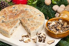 Special Christmas mushroom pastry. Inside, indoor, indoors, interior, interiors, gastronomy, cuisine, food, meal, meals, nutrition, nourishment, baked royalty free stock photography