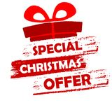 Special christmas offer. Banner - text in red and white drawn label with gift symbol, business seasonal shopping concept Stock Photos