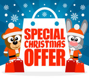 Special Christmas Offer card with bear and rabbit Royalty Free Stock Image