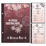 Special Christmas Restaurant menu for pizza Stock Photos