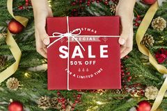 Special 50% Christmas sale sign mockup stock image