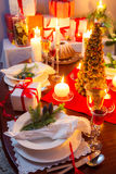 Special Christmas setting table. For eve Royalty Free Stock Images