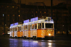 Special Christmas tram with festive lights in Budapest Hungary Stock Photos