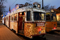 Special Christmas tram with festive lights stock photo