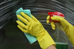 Without smudges. Special cleaner for windows, glass without smudges Royalty Free Stock Image