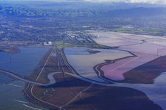 Special colorful salt ponds of Newark. Aerial view of special colorful salt ponds of Newark, California royalty free stock photos