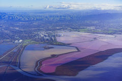 Special colorful salt ponds of Newark. Aerial view of special colorful salt ponds of Newark, California royalty free stock images