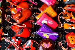 Special, colourful, and funny handmade leather bags art toys. In the image, there are some special, colourful,and funny handmade letter bags royalty free stock photo