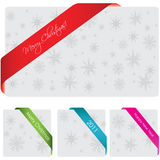 Special corner ribbon. With snowflakes Royalty Free Stock Photography