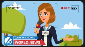 TV Reporter Presenting News. Vector Concept. Video Camera Viewfinder. Female Recording TV News. Production Video. Special Correspondent Performing News Report Royalty Free Stock Photos