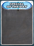 Special of the Day Board. Well used Black chalkboard advertising the special of the day Stock Photos