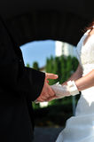 Holding their hands at marriage ceremony Stock Image