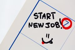Special days new job. Recruitment job occupation employment issues beginnings calendar stock image