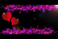 Special de las tarjetas del día de San Valentín - corazones que brillan intensamente Imagen de archivo