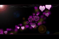 Special de las tarjetas del día de San Valentín - corazones que brillan intensamente Fotos de archivo