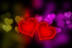 Special de las tarjetas del día de San Valentín - corazones que brillan intensamente Imagenes de archivo