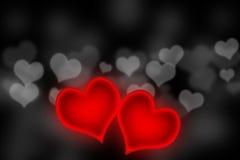 Special de las tarjetas del día de San Valentín - corazones que brillan intensamente Imágenes de archivo libres de regalías