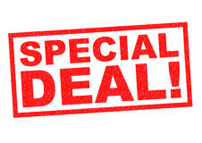 SPECIAL DEAL!. SPECIAL DEAL red Rubber Stamp over a white background Stock Image