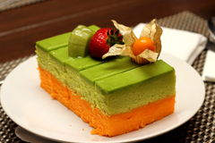 Special delicious of Pandan and orang Cake Stock Image