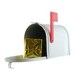 Special Delivery. Present inside of a mailbox isolated on white Stock Images