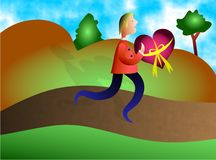 Special Delivery. Man carrying gift sent with love Stock Images