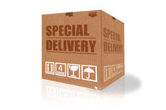 Special delivery cardboard box Stock Photos