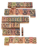 Special delivery handle with care. Special delivery, handle with care, priceless - a collage of isolated phrases in vintage wood letterpress printing blocks Royalty Free Stock Image