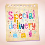 Special delivery note pad paper illustration Royalty Free Stock Photography